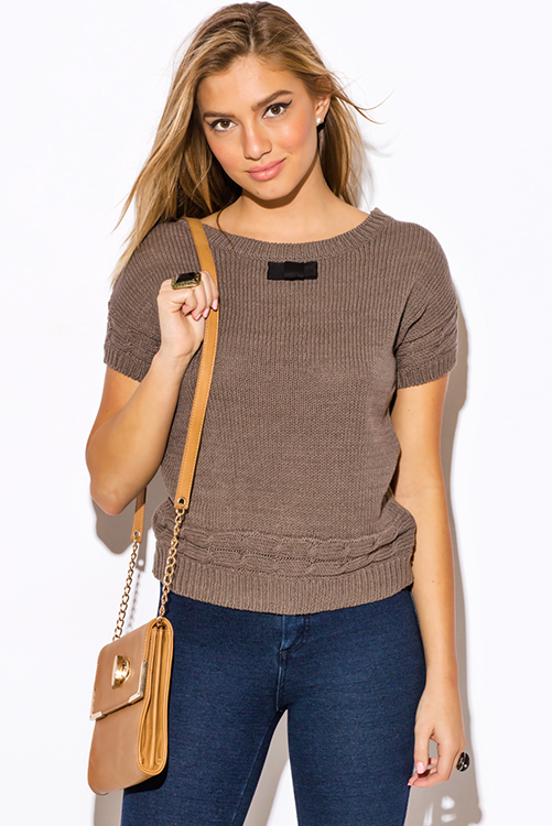 Cute cheap mocha cable knit bow tie applique short sleeve preppy sweater top