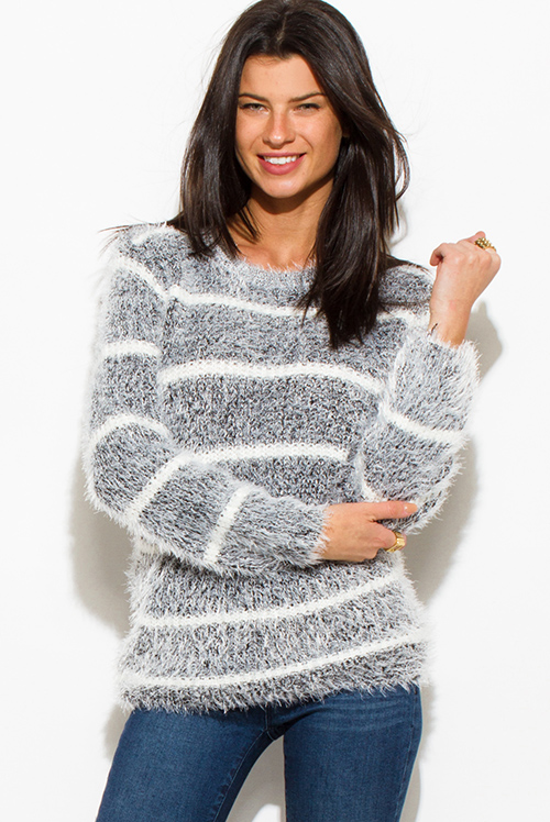 Cute cheap peppered black cotton blend stripe textured long sleeve fuzzy sweater knit top