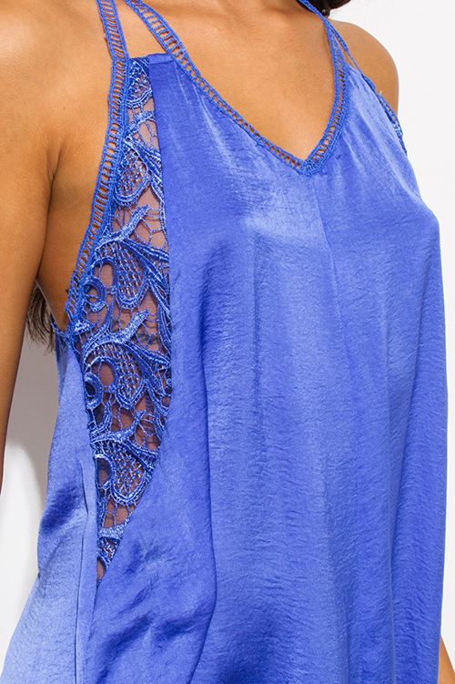 Cute cheap periwinkle blue crinkle satin v neck crochet lace cut out double spaghetti strap racer back cocktail party shift slip mini dress