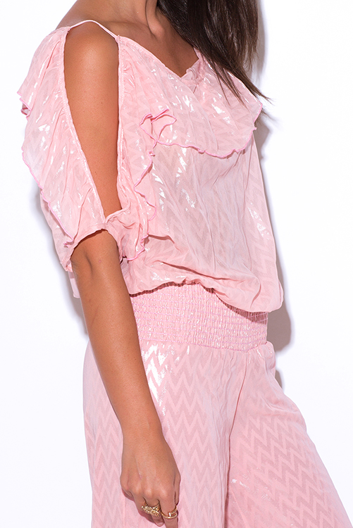 Cute cheap pink ruffle chiffon cold shoulder evening party wide leg jumpsuit