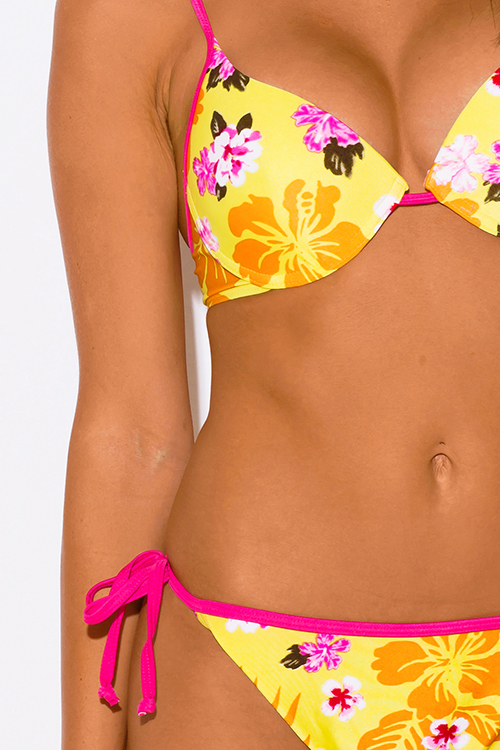 Cute cheap pink floral print yellow push up bikini swimsuits set