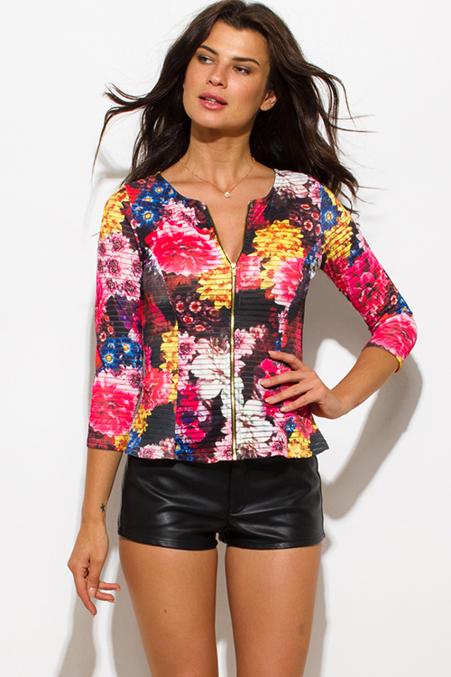 Cute cheap pink multicolor floral print sheer stripe mesh fitted quarter sleeve zip up jacket top