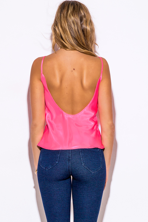 Cute cheap pink satin backless spaghetti strap camisole party tank top