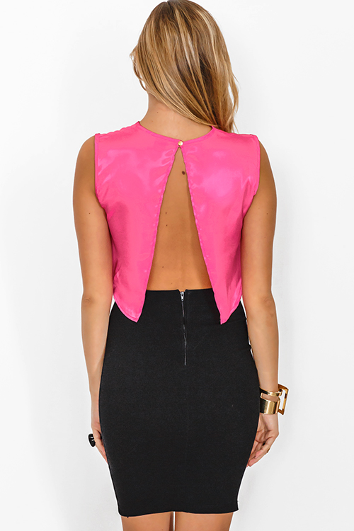 Cute cheap pink satin cut out backless crop party top