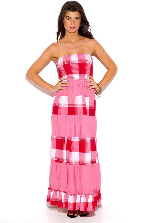 Shop plaid smocked strapless long maxi dress