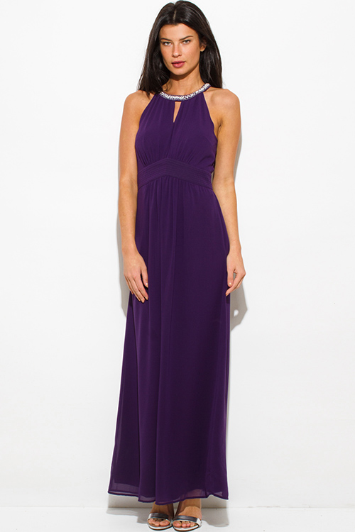 Cute cheap plum purple chiffon halter sleeveless pearl embellished cut out evening party maxi dress