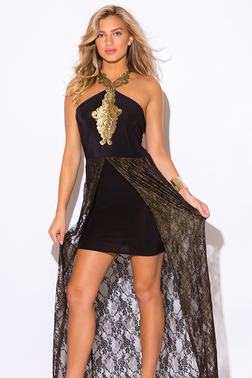 Shop plus size black gold metallic lace high low formal cocktail ...