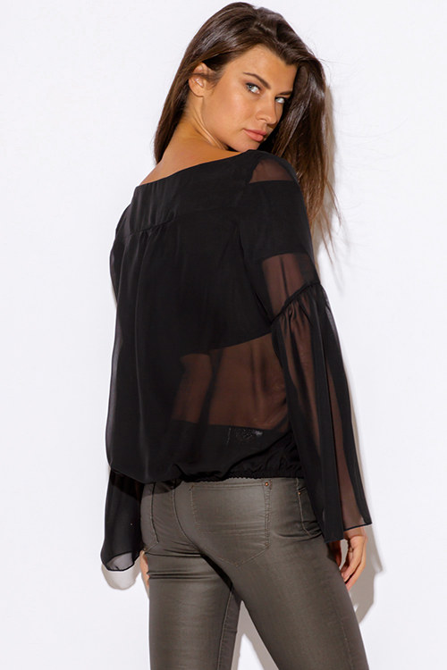 Cute cheap plus size black semi sheer chiffon long sleeve boho blouse top