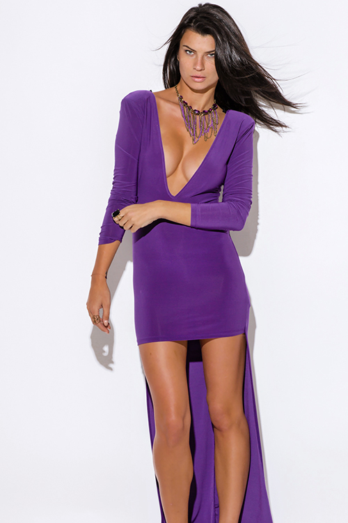Cute cheap plus size royal purple deep v neck backless long sleeve high low evening party dress