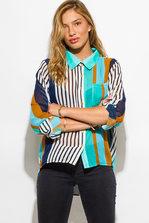 Cute cheap plus size teal blue multicolor stripe chiffon quarter sleeve blouse top