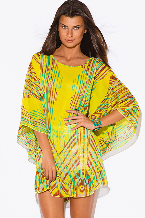 Cute cheap plus size yellow abstract ethnic print semi sheer chiffon boho tunic top mini dress