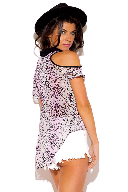 Cute cheap purple leopard animal print cold shoulder semi sheer chiffon blouse high low top
