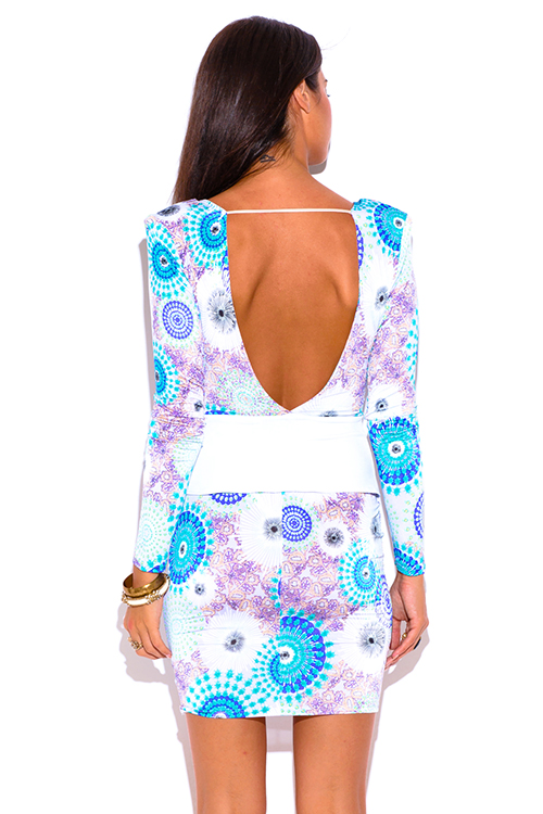 Cute cheap blue ethnic print long sleeve deep v neck backless fitted peplum party mini dress