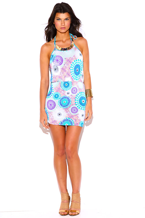 Cute cheap purple medallion print gold bejeweled halter fitted clubbing mini dress
