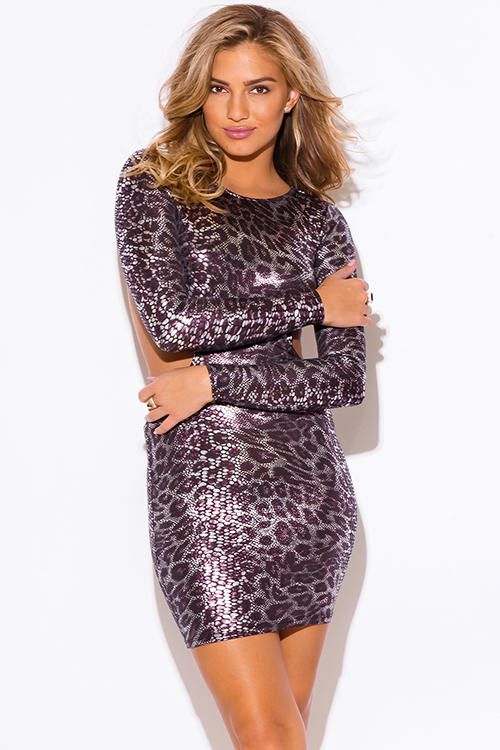 Cute cheap silver snake animal print metallic cut out backless long sleeve fitted bodycon clubbing mini dress