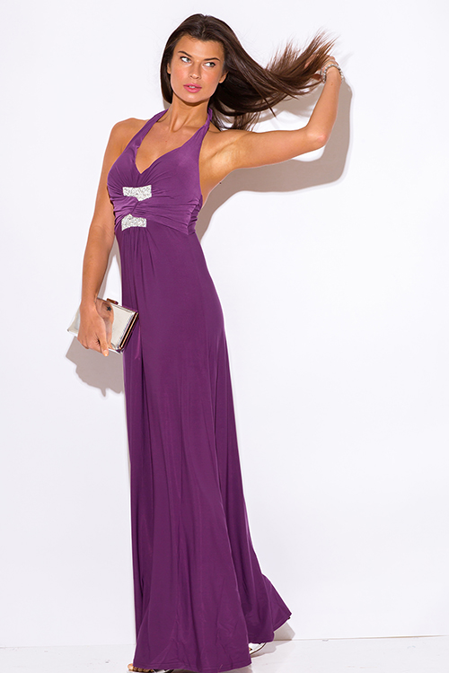 Cute cheap purple v neck bejeweled ruched empire waist halter formal evening party maxi dress