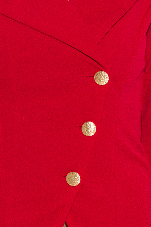 Cute cheap red asymmetrical golden button fitted blazer jacket