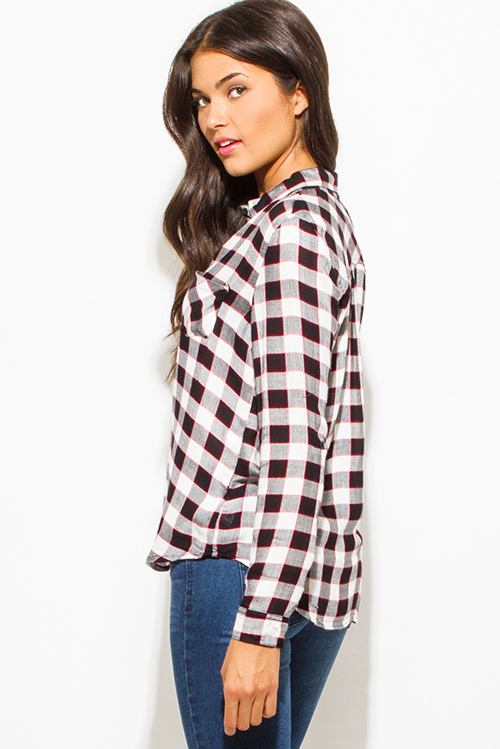 Cute cheap red black checker plaid flannel long sleeve button up top