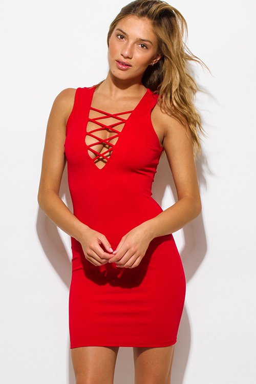 Cute cheap red caged front fitted bodycon clubbing mini dress