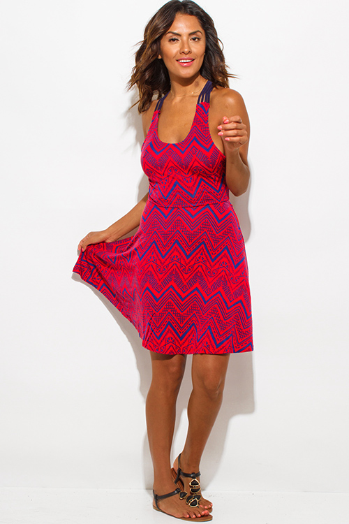 Cute cheap red chevron abstract ethnic print caged back boho mini sun dress