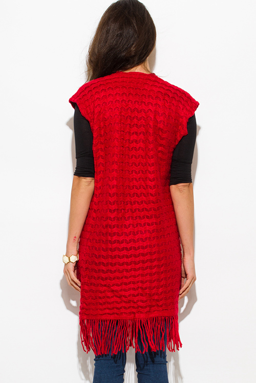 Cute cheap red chevron crochet knit fringe trim sleeveless open front duster cardigan top