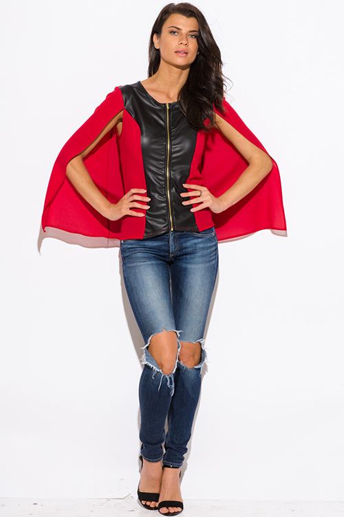 Cute cheap red color block faux leather panel zip up cape blazer jacket