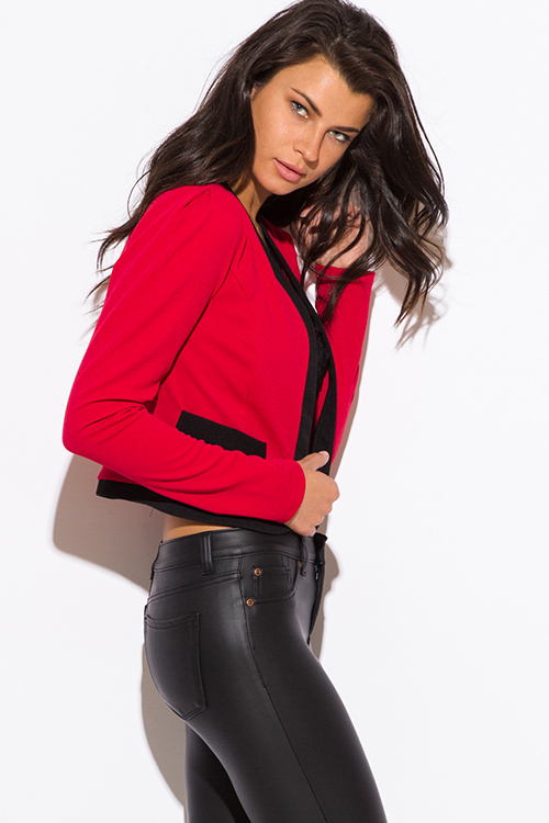 Cute cheap red color block open blazer jacket top