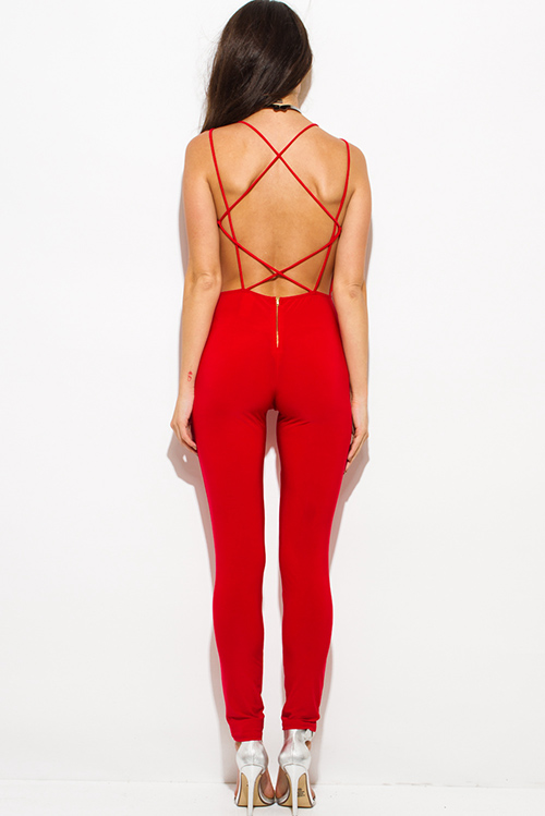 Cute cheap red criss cross caged cut out front bodycon fitted criss cross caged backless clubbing catsuit jumpsuit
