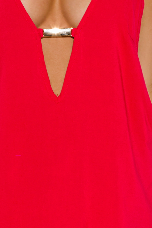 Cute cheap red cut out bejeweled backless summer party mini sun dress