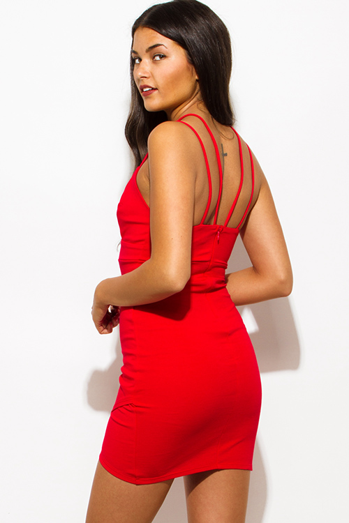 Cute cheap red deep v neck spaghetti strap caged front faux wrap bodycon fitted club mini dress