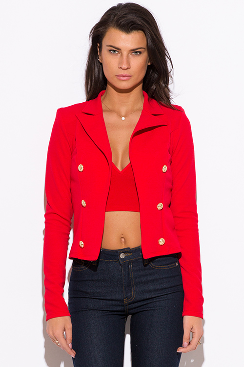 Shop red golden button military style open blazer jacket