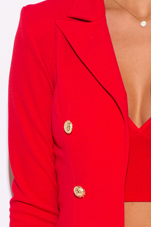 Cute cheap red golden button military style open blazer jacket