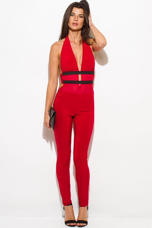 Cute cheap red halter deep v neck banded mesh contrast backless bodycon fitted clubbing catsuit jumpsuit