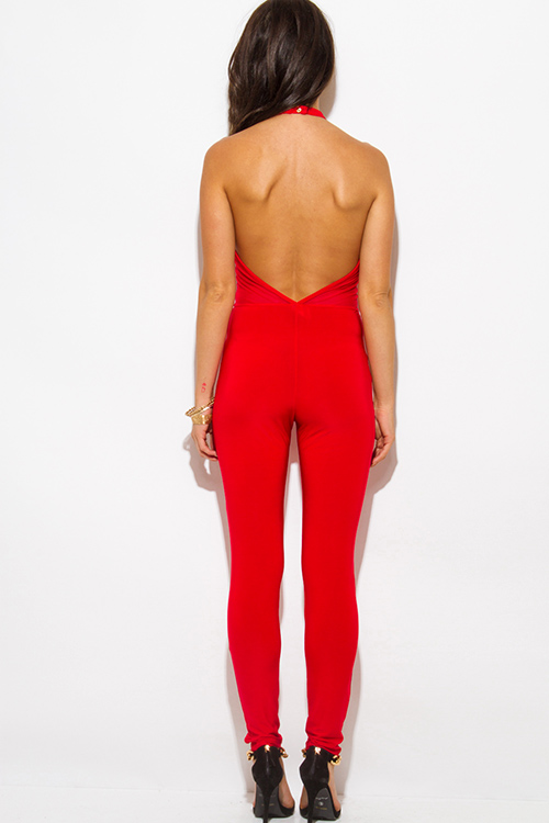 Cute cheap red halter high neck backless mesh panel fitted bodycon clubbing catsuit jumpsuit