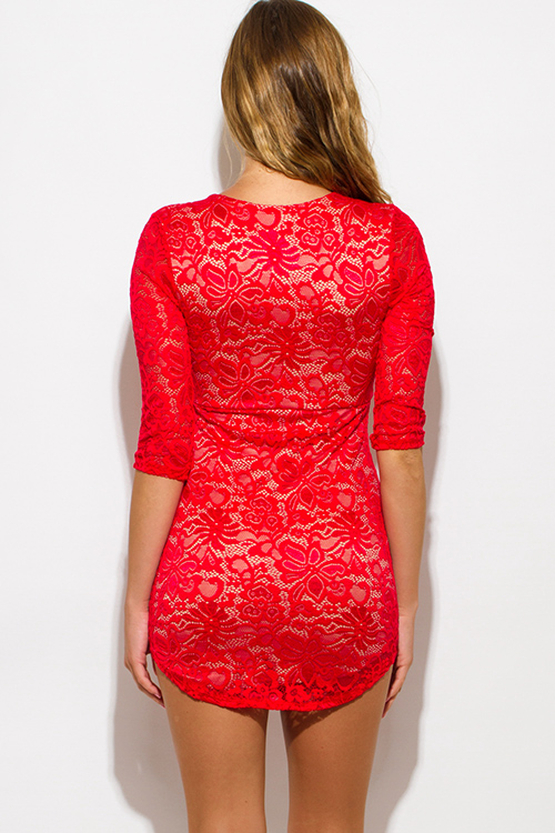 Cute cheap red lace laceup scallop hem bodycon fitted clubbing mini dress