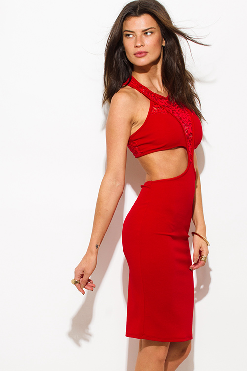 Cute cheap red lace panel contrast halter neck racer back cut out bodycon fitted club mini dress