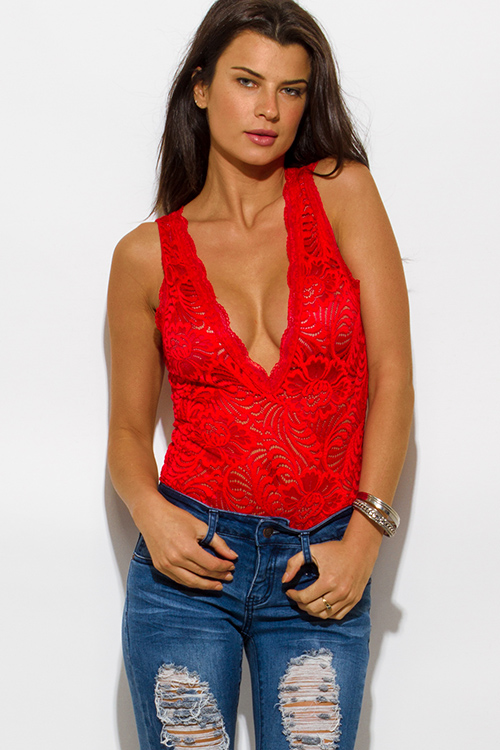 Cute cheap red sheer lace v neck scallop trim sleeveless clubbing bodysuit top