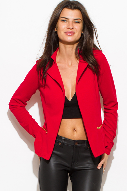 Cute cheap red long sleeve open front zipper pocket fitted blazer jacket