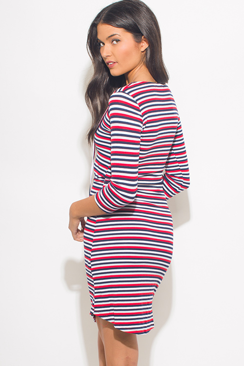 Cute cheap red multicolor striped ribbed knit quarter sleeve laceup bodycon fitted midi dress