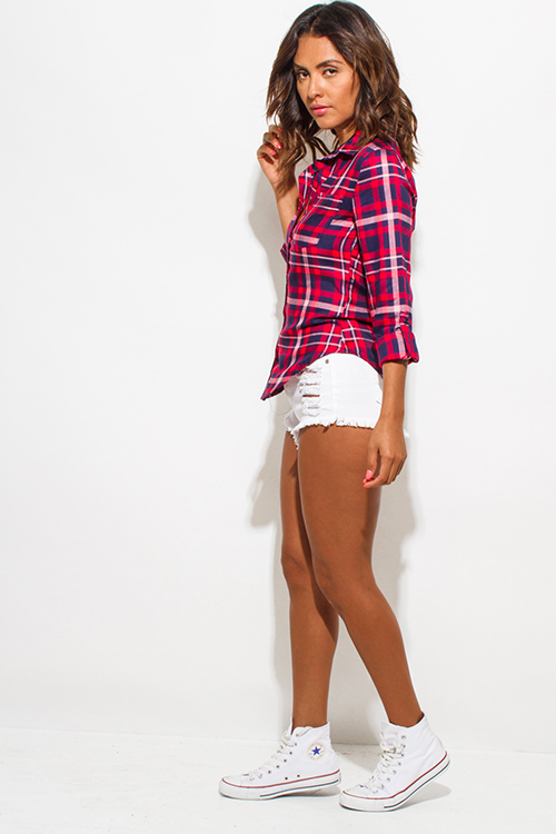 Cute cheap red navy blue plaid flannel long sleeve button up blouse top