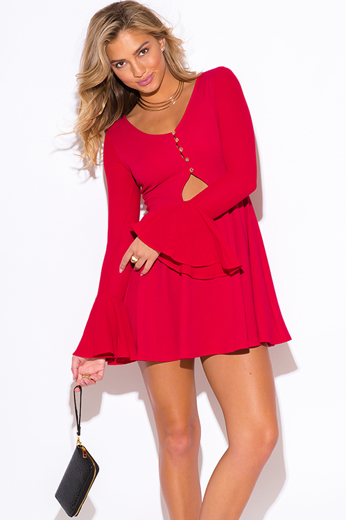 Cute cheap red ruffle long bell sleeve v neck a line cocktail party club mini dress