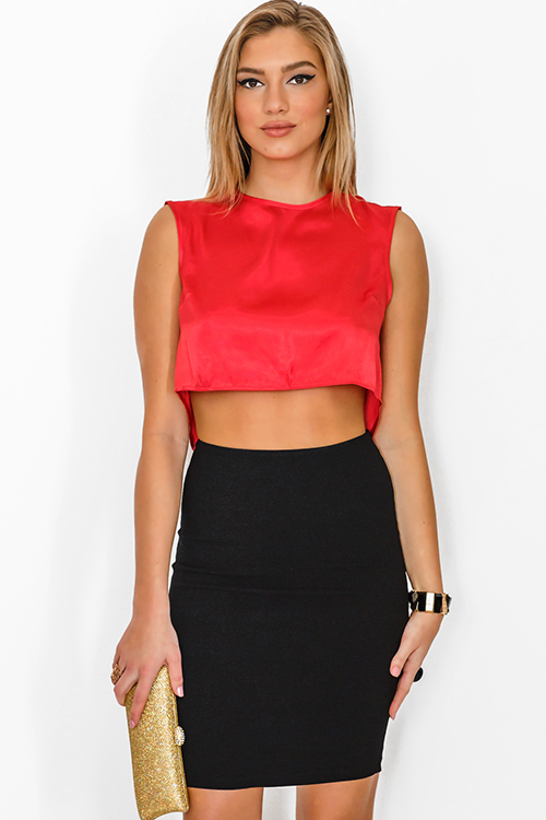 Cute cheap red satin cut out backless crop party top