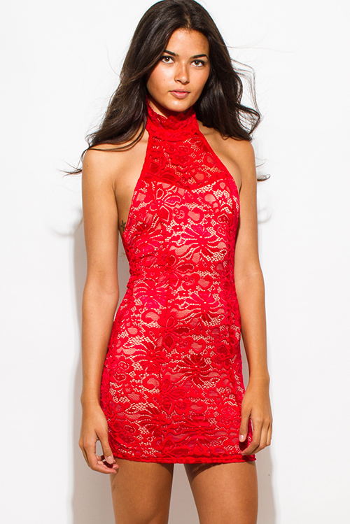 Cute cheap red sheer lace overlay high halter neck backless bodycon fitted mini club dress