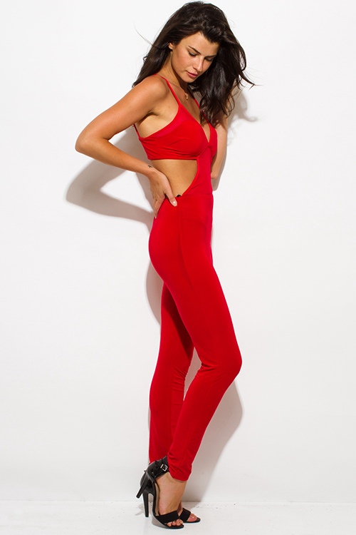 Cute cheap red sheer mesh contrast bustier open back spaghetti strap bodycon fitted clubbing catsuit jumpsuit