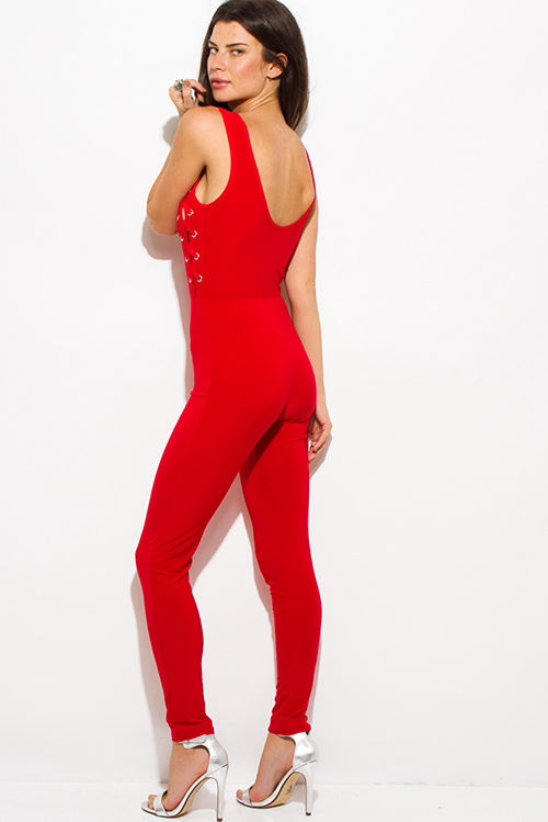 Cute cheap red sleeveless laceup eyelet trim open back bodycon clubbing fitted catsuit jumpsuit