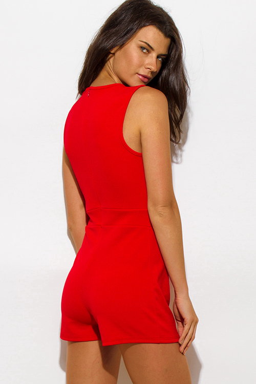 Cute cheap red sleeveless laceup fitted bodycon clubbing romper jumpsuit