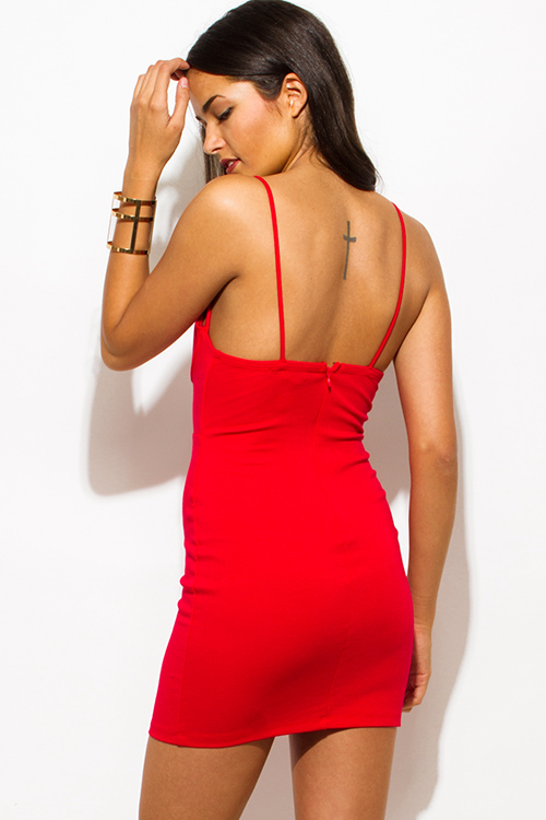Cute cheap red sweetheart bustier caged v neck cut out spaghetti strap bodycon fitted pencil club mini dress