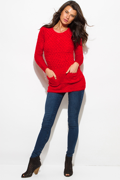 Long Sleeve Red Tunic Sweater - Cardigan With Buttons