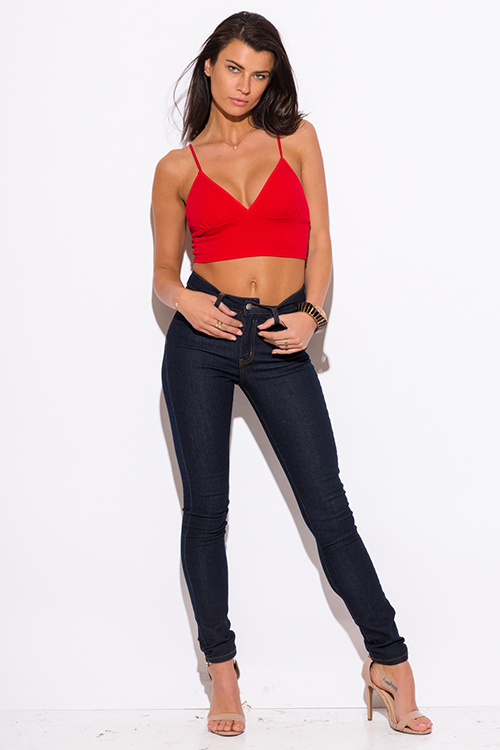 Cute cheap red v neck spaghetti strap bralette party crop top