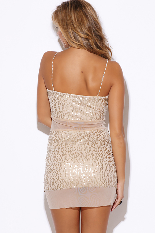 Cute cheap gold sequined nude beige mesh rhinestone bejeweled fitted bodycon cocktail party club mini dress